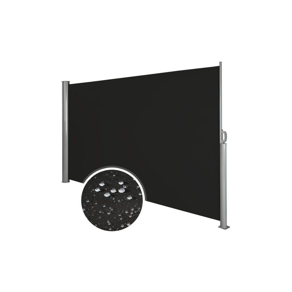 Helloshop26 Auvent store latéral brise-vue abri soleil aluminium rétractable 180 x 300 cm noir 2208014