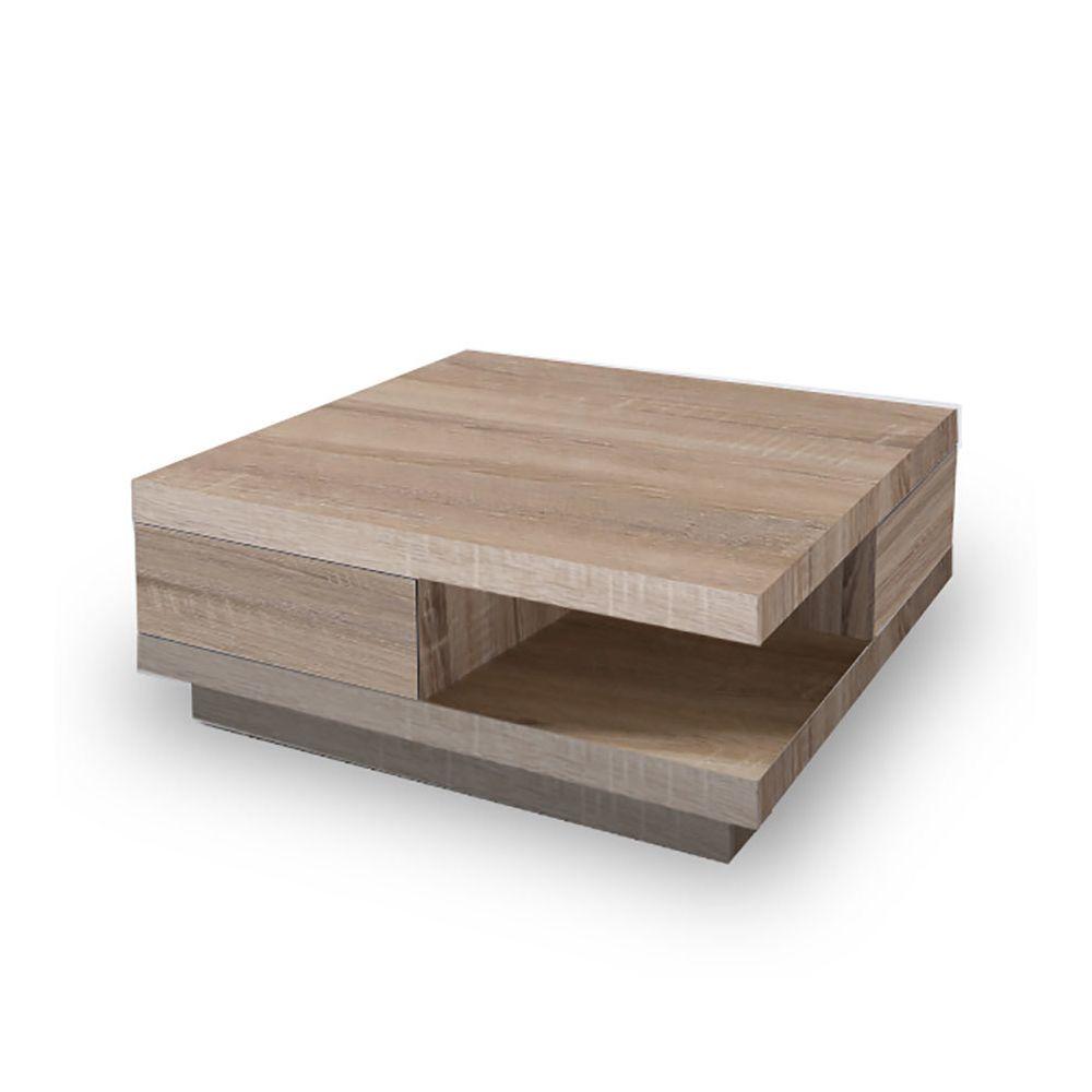 Sofamobili Table basse carrée 2 tiroirs couleur chêne clair YALTA, 2 coloris