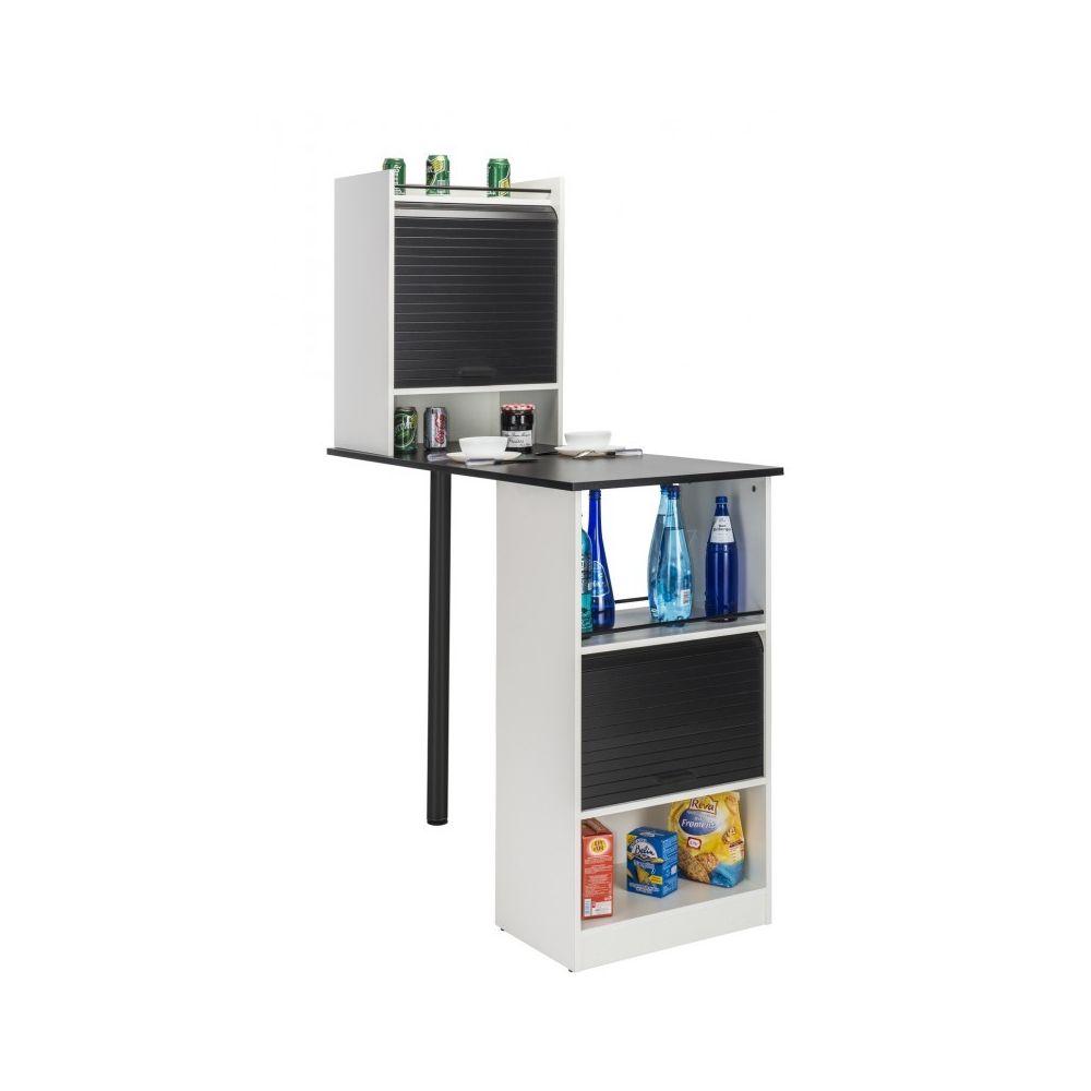 Simmob Table de cuisine et 2 Meubles de rangement Blancs - Coloris: Noir