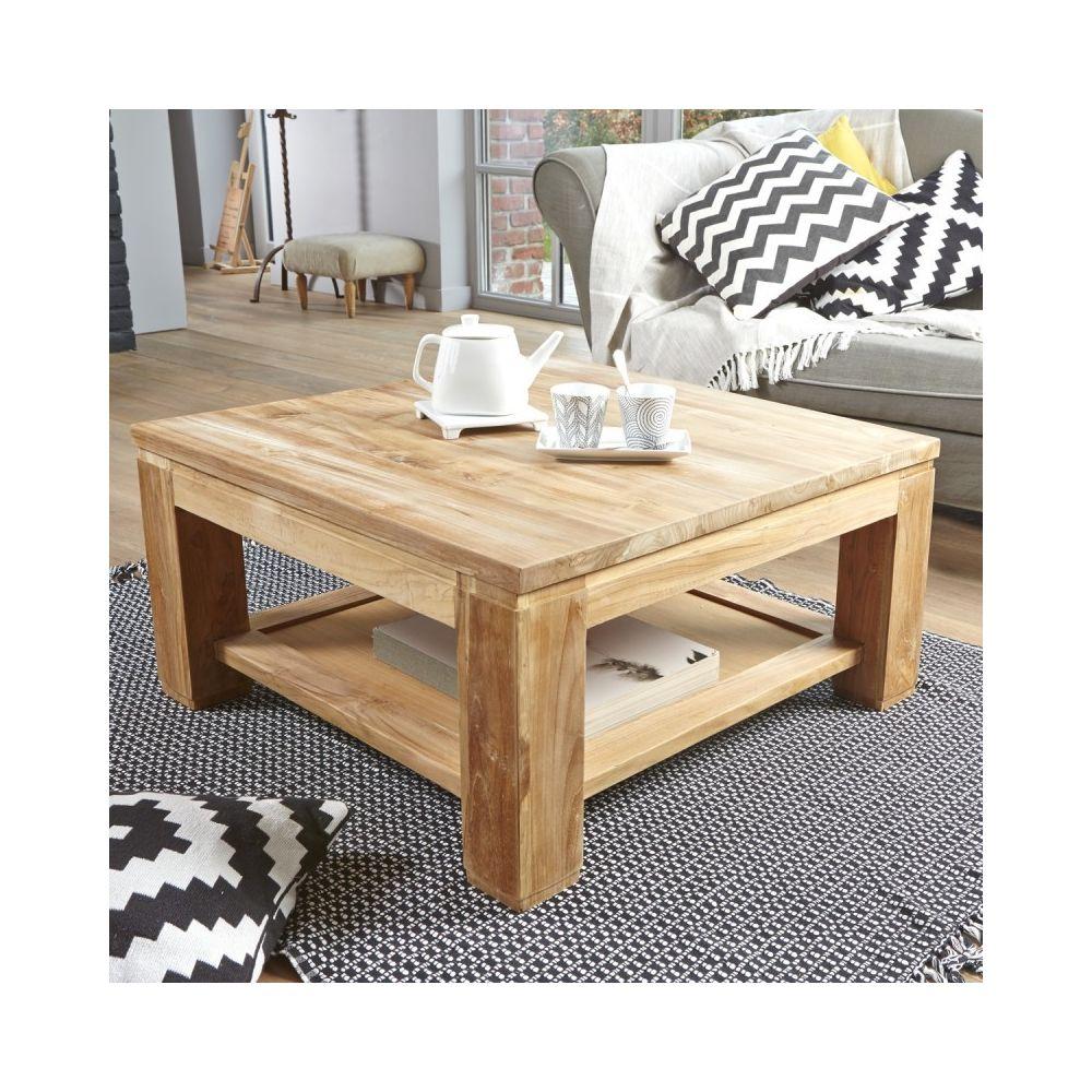 Bois Dessus Bois Dessous Table basse carrée en bois de teck 80