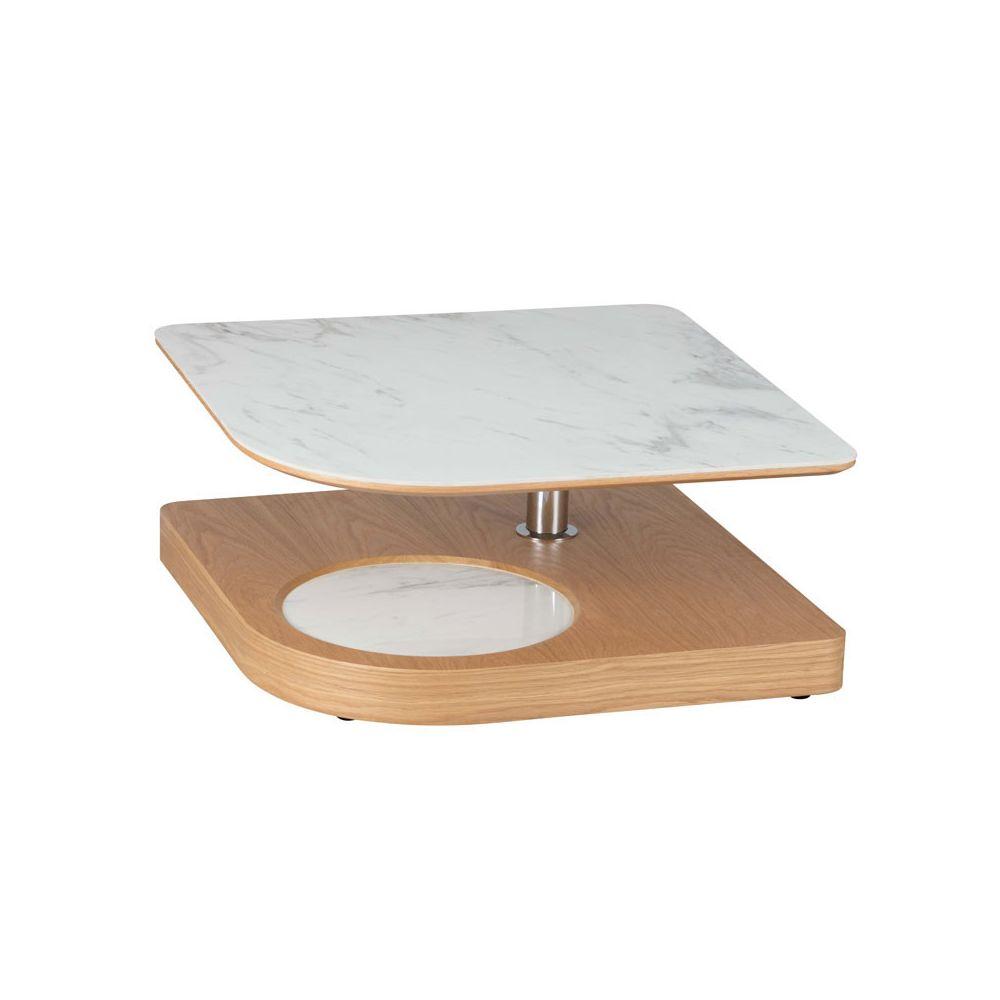 Tousmesmeubles Table basse carrée articulée Bois/Marbre blanc - LAMPANG