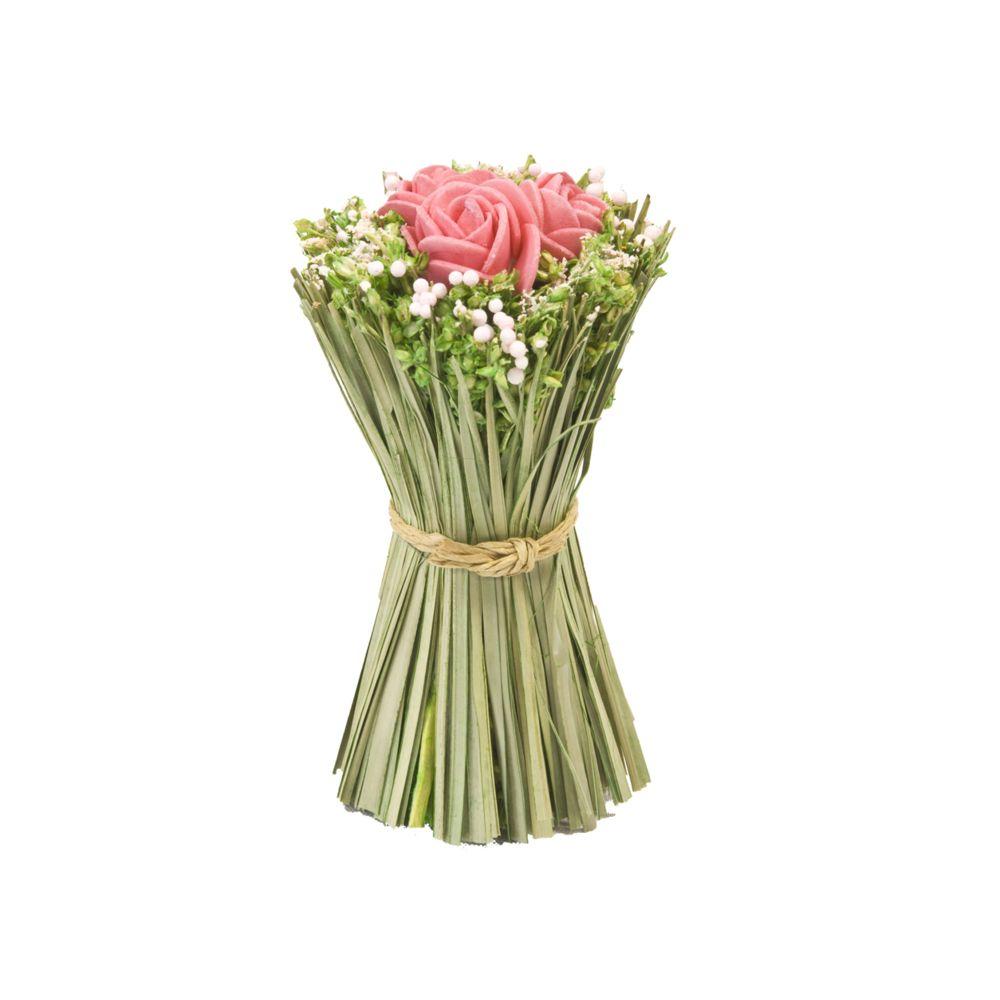 Visiodirect Lot de 12 Fagots de roses et fleurs à poser coloris Rose - 11 cm