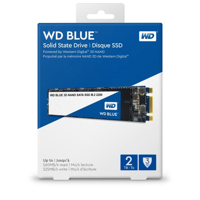 Western Digital - SSD interne M.2 2280 WD BLUE 1 To SATA III NAND 3D - Disque SSD M.2