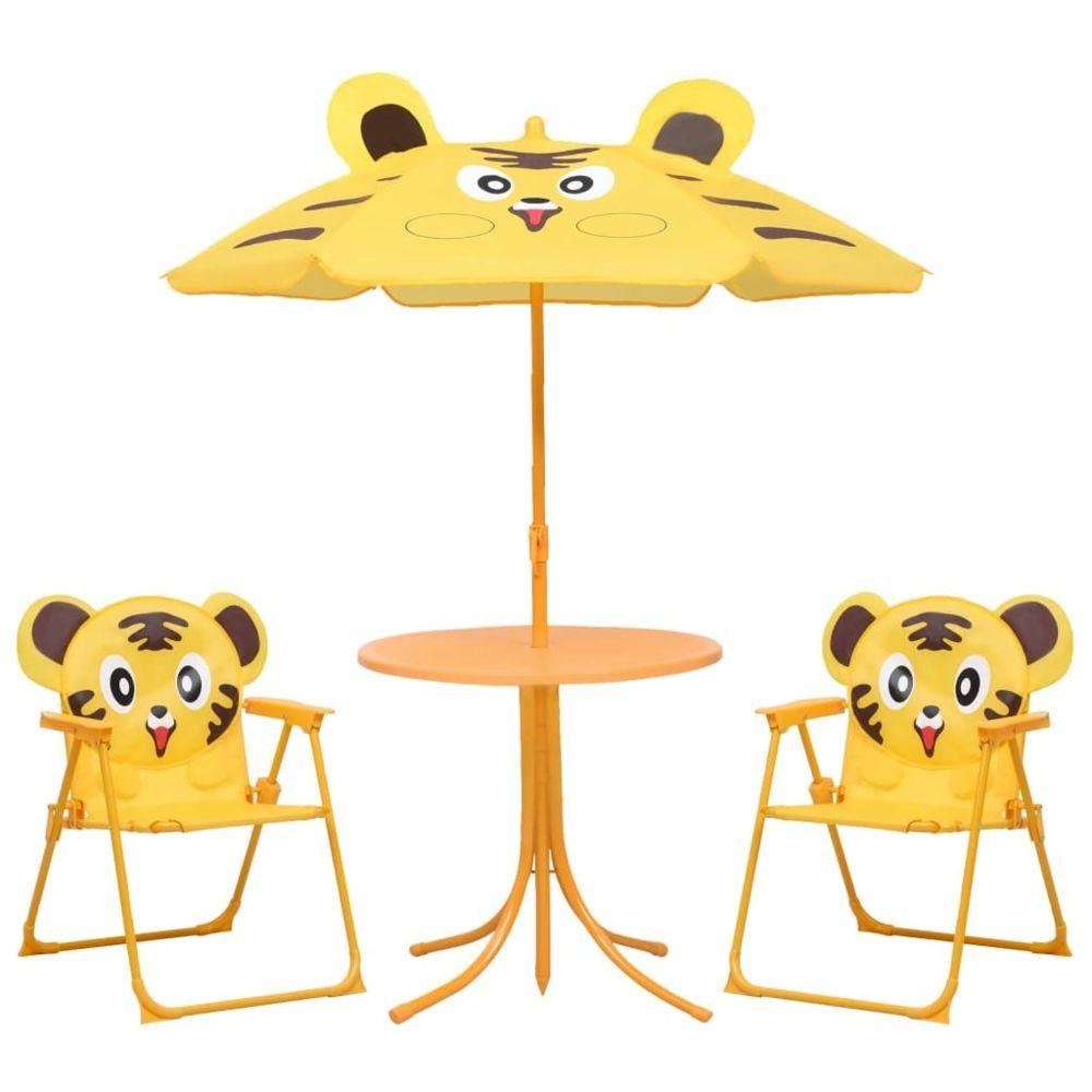 Vidaxl vidaXL Jeu de bistro avec parasol pour enfants 3 pcs Jaune