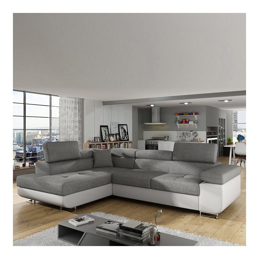 Nouvomeuble Canapé d'angle convertible gris et blanc WILLIS