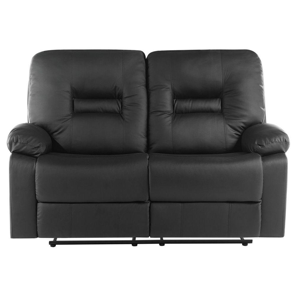 Beliani Canapé 2 places en simili cuir noir avec position réglable BERGEN