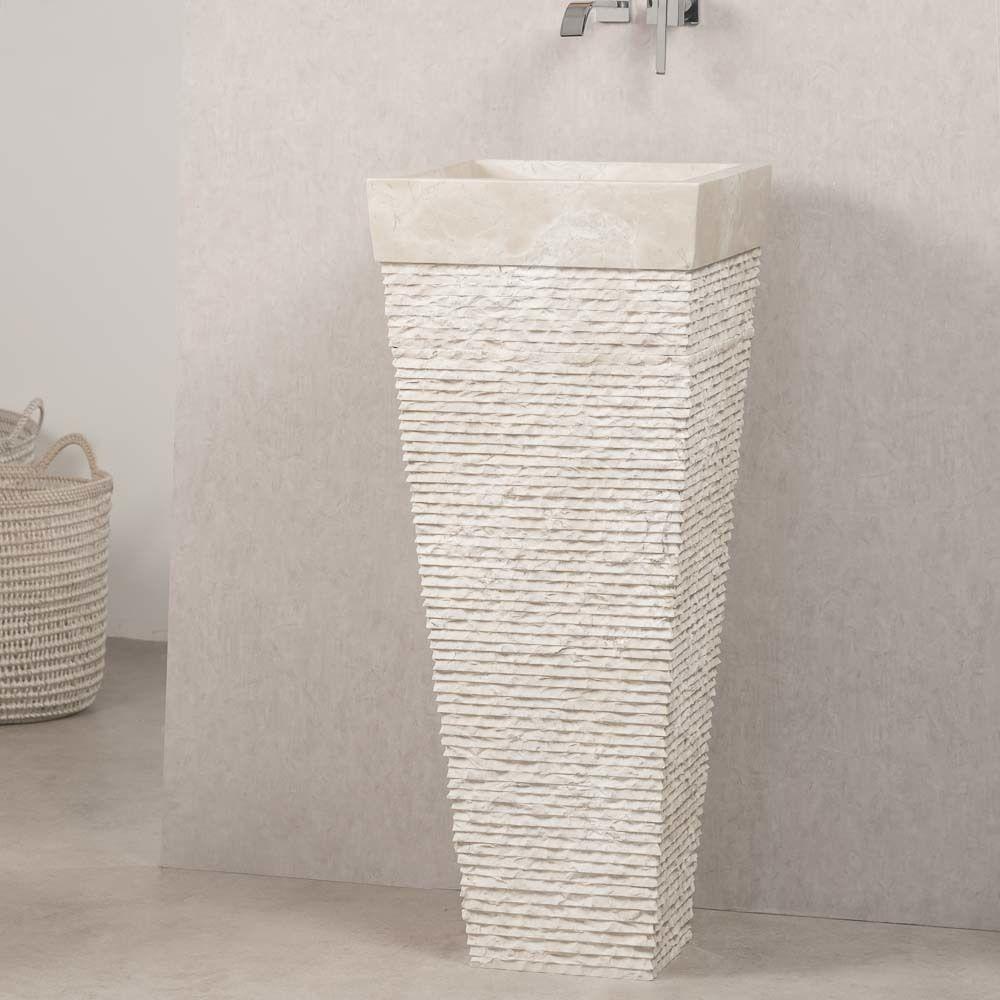 Wanda Collection Vasque salle de bain sur pied en pierre pyramide havana crème