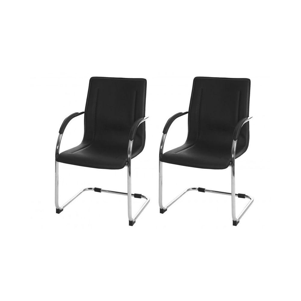 Decoshop26 Lot de 2 chaises bureau visiteur en simili-cuir noir avec accoudoir BUR04067