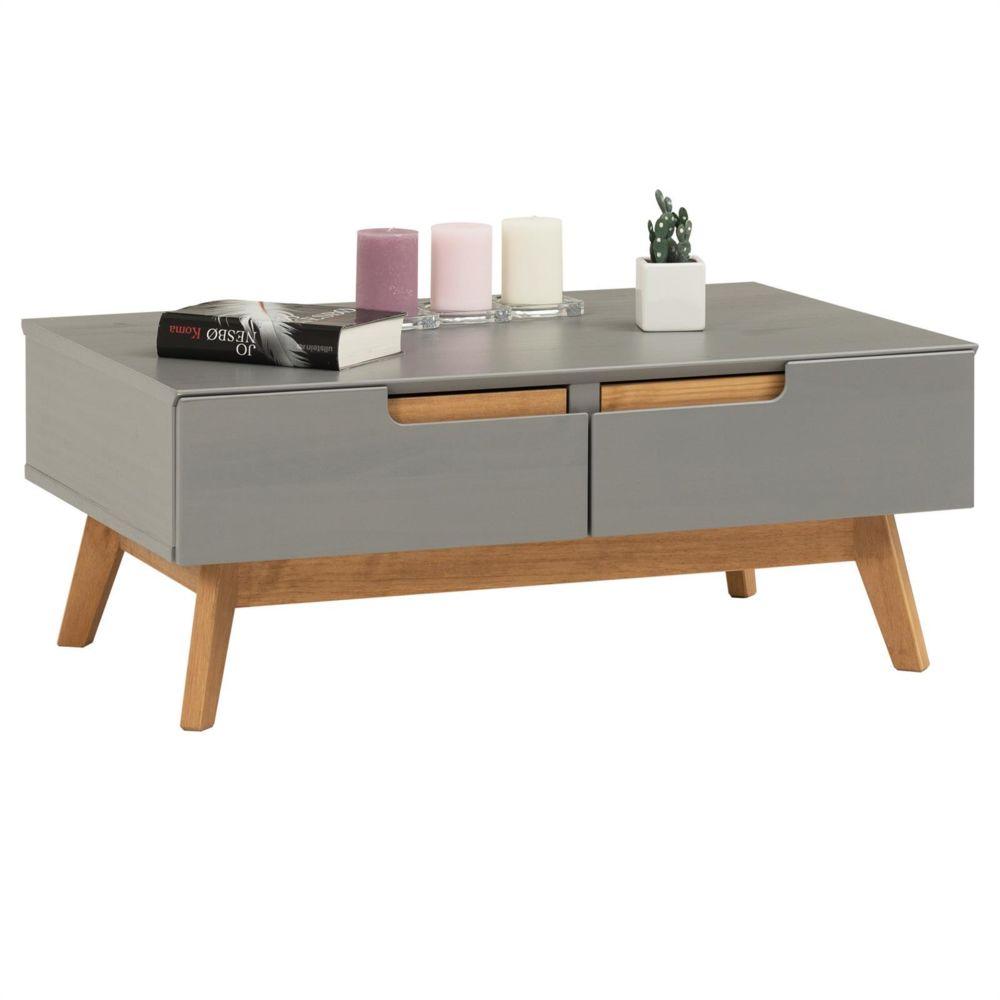 Idimex Table basse TIBOR style scandinave design vintage nordique table de salon rectangulaire 2 tiroirs 2 niches en pin massif