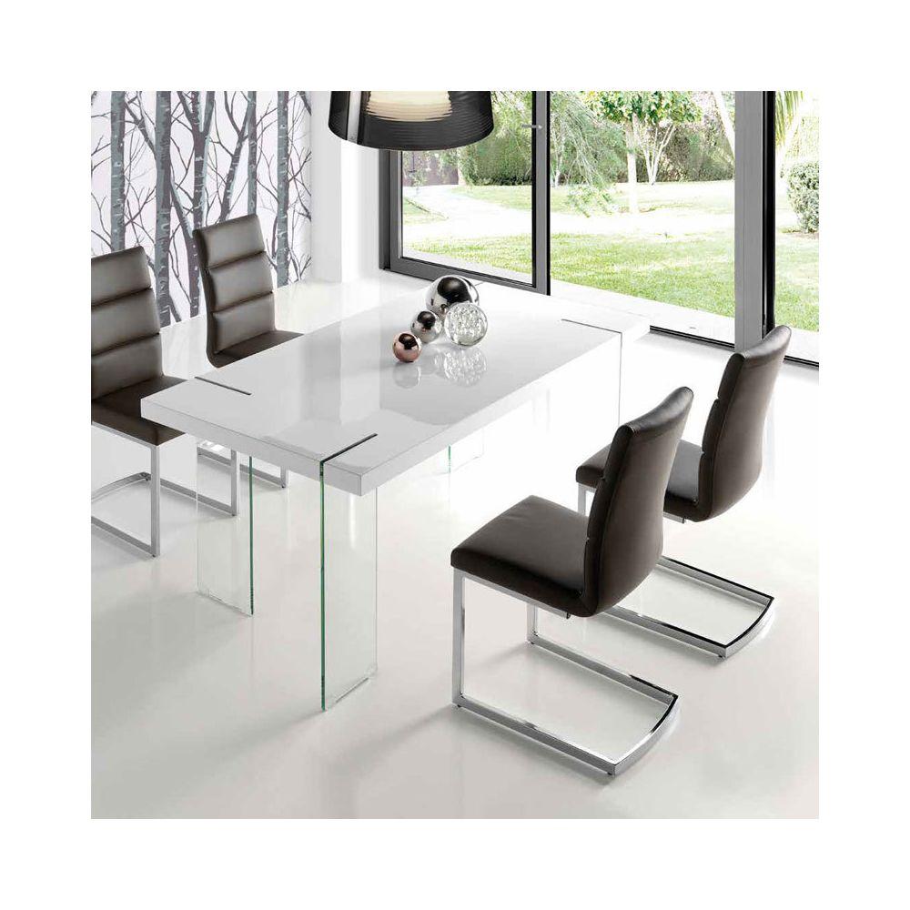 Nouvomeuble Table à manger design blanc laqué et verre ARGOS