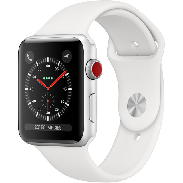 Apple - Watch 3 - 38 - Cellular - Alu argent / Bracelet Sport Blanc - Objets connectés reconditionnés