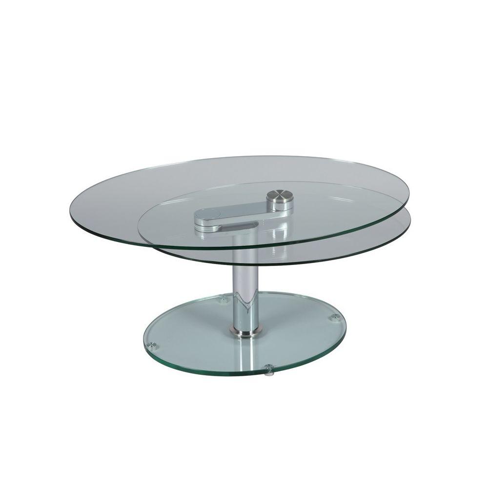 Tousmesmeubles Table basse articulée Acier/Verre - GLASS n°1