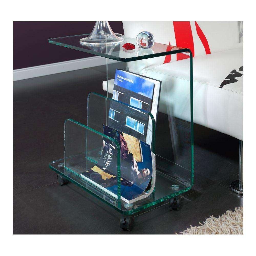 Kasalinea Table d'appoint en verre à roulette design CORINNE