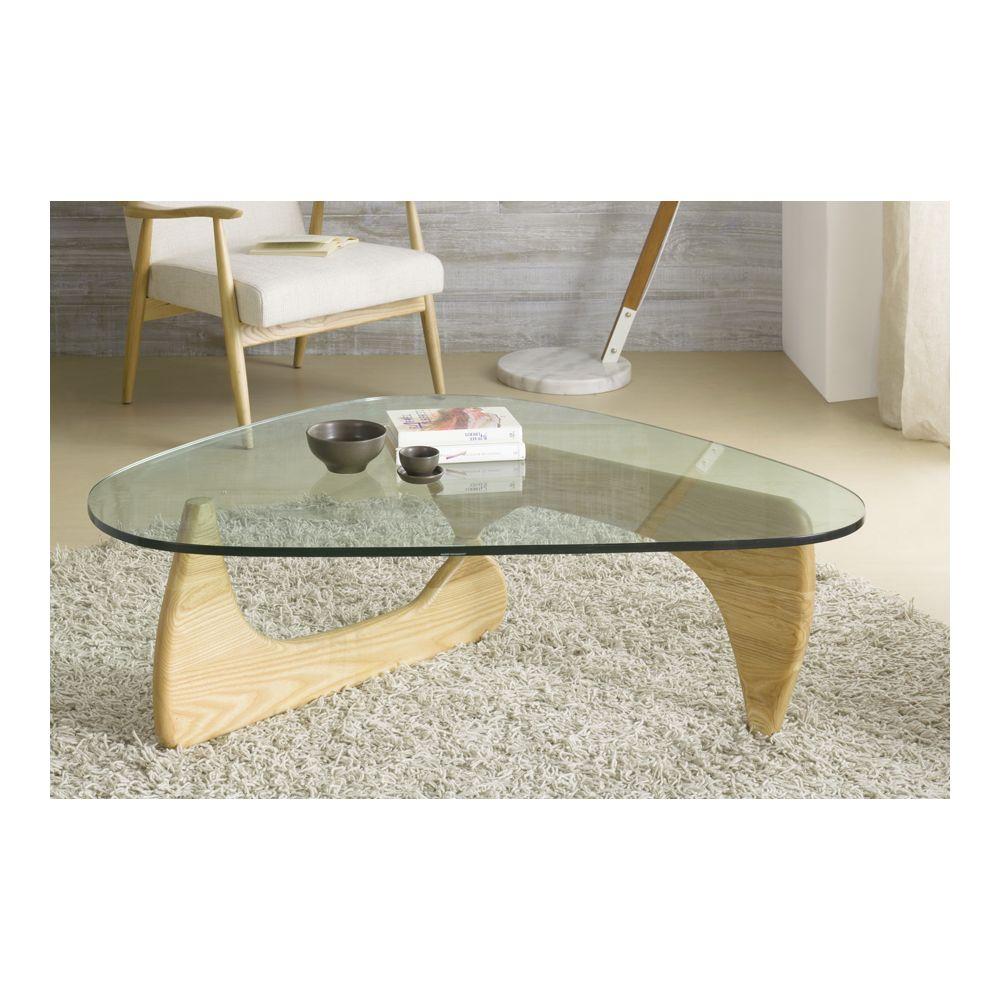 Sofamobili Table basse en verre et bois massif contemporaine GENEVE