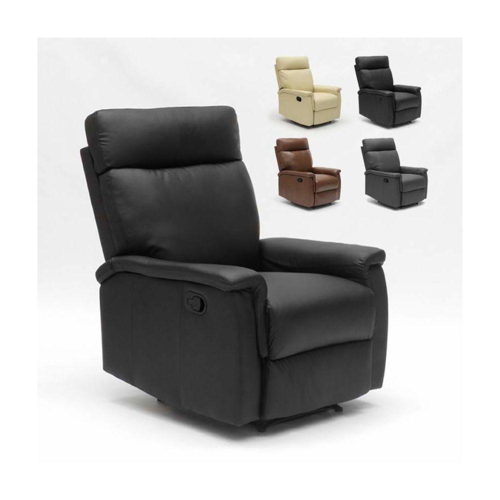 Produceshop Fauteuil relax inclinable avec repose-pieds en similcuir design Aurora, Couleur: Noir