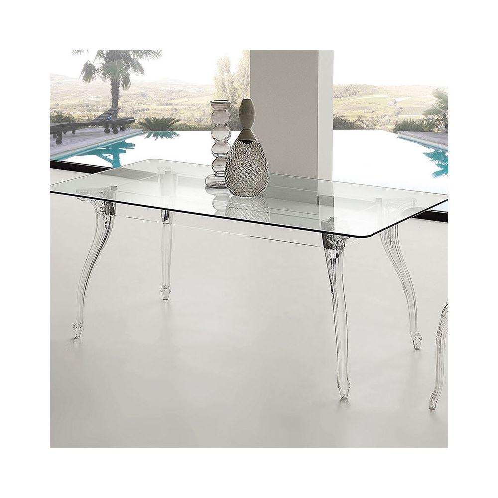 Nouvomeuble Table à manger en verre design CHARLYNE