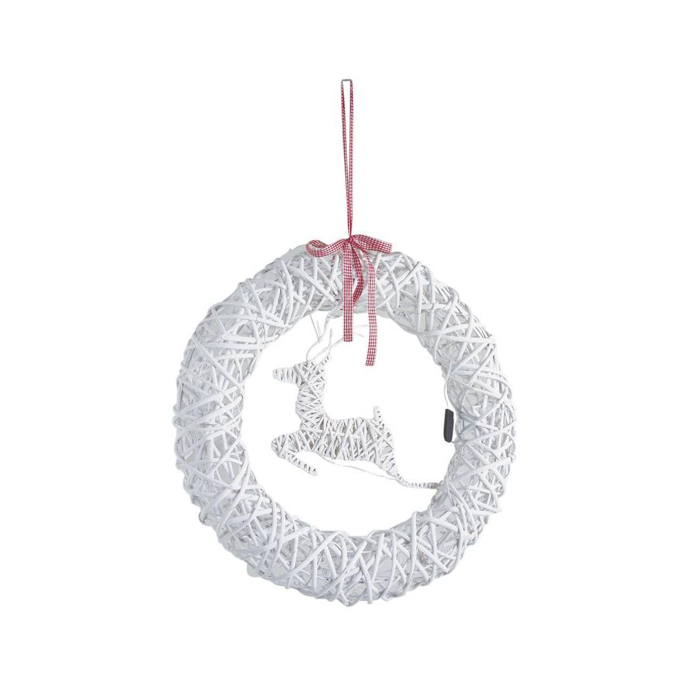 Aubry Gaspard Couronne de porte cerf en osier blanc avec LEDs 55 cm