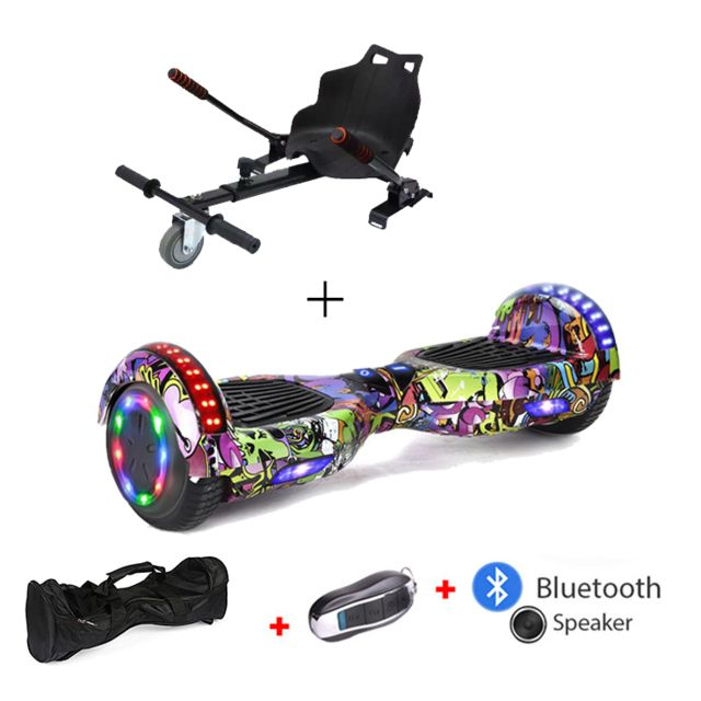 Mac Wheel - 6,5 pouces rue violette Gyropod Overboard Hoverboard Smart Scooter + Bluetooth + clé à distance + sac + Roue LED + hoverkart - Gyropode, Hoverboard
