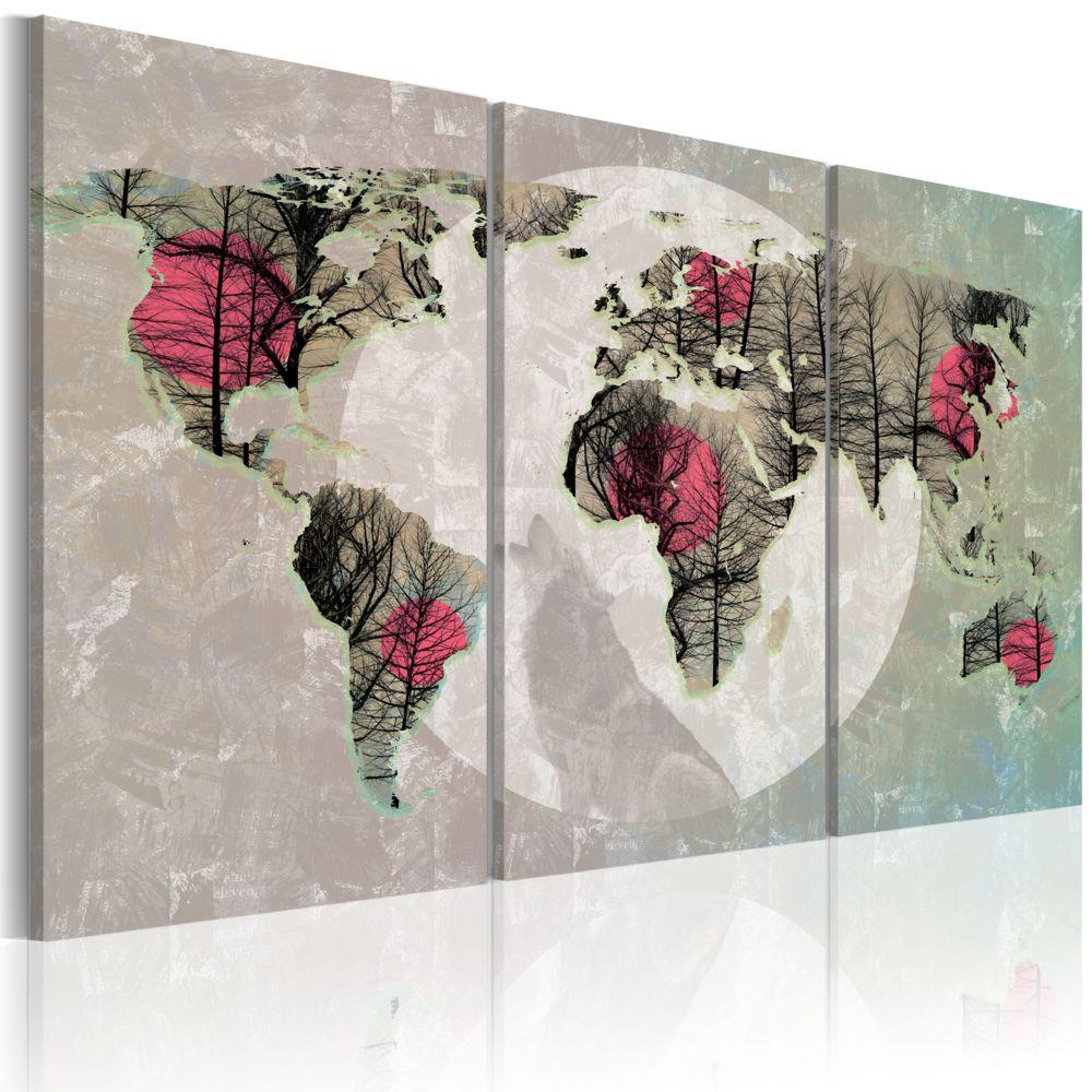 Declina Tableau - Carte du Monde: Pleine lune - triptyque