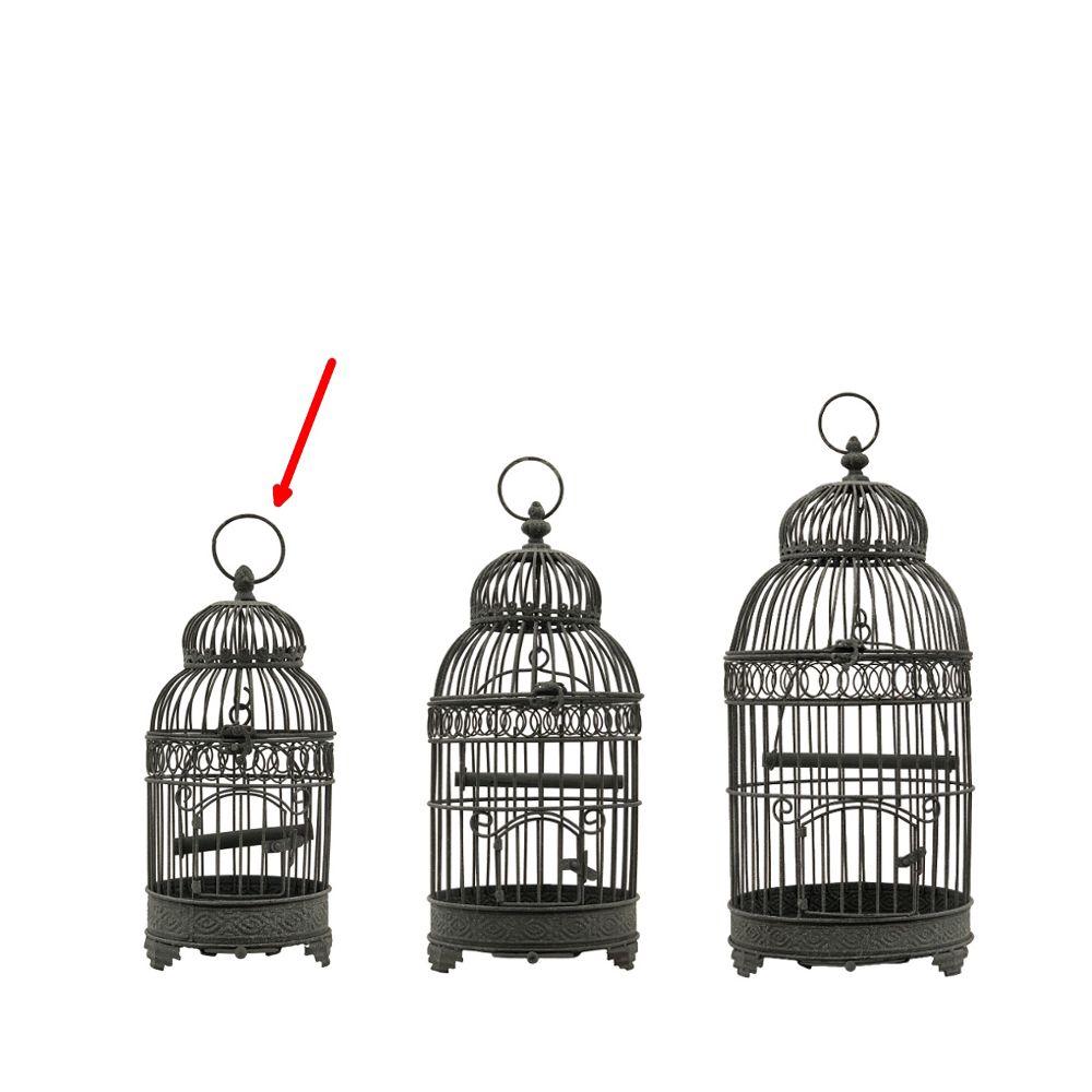 L'Originale Deco Style Ancienne Petite Cage à Oiseaux en fer Gris Ronde 40 cm x ø16.50 cm