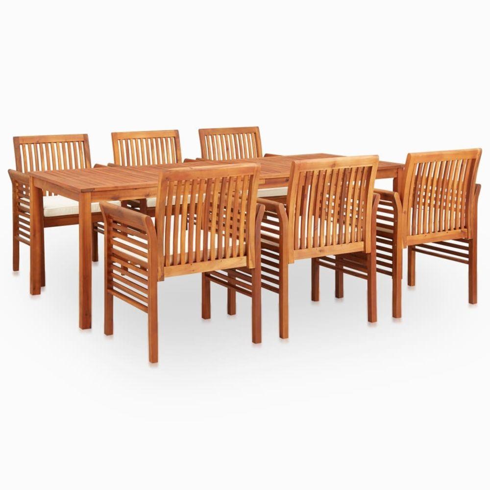 Vidaxl vidaXL Mobilier à dîner d'extérieur 7 pcs et coussins Acacia solide