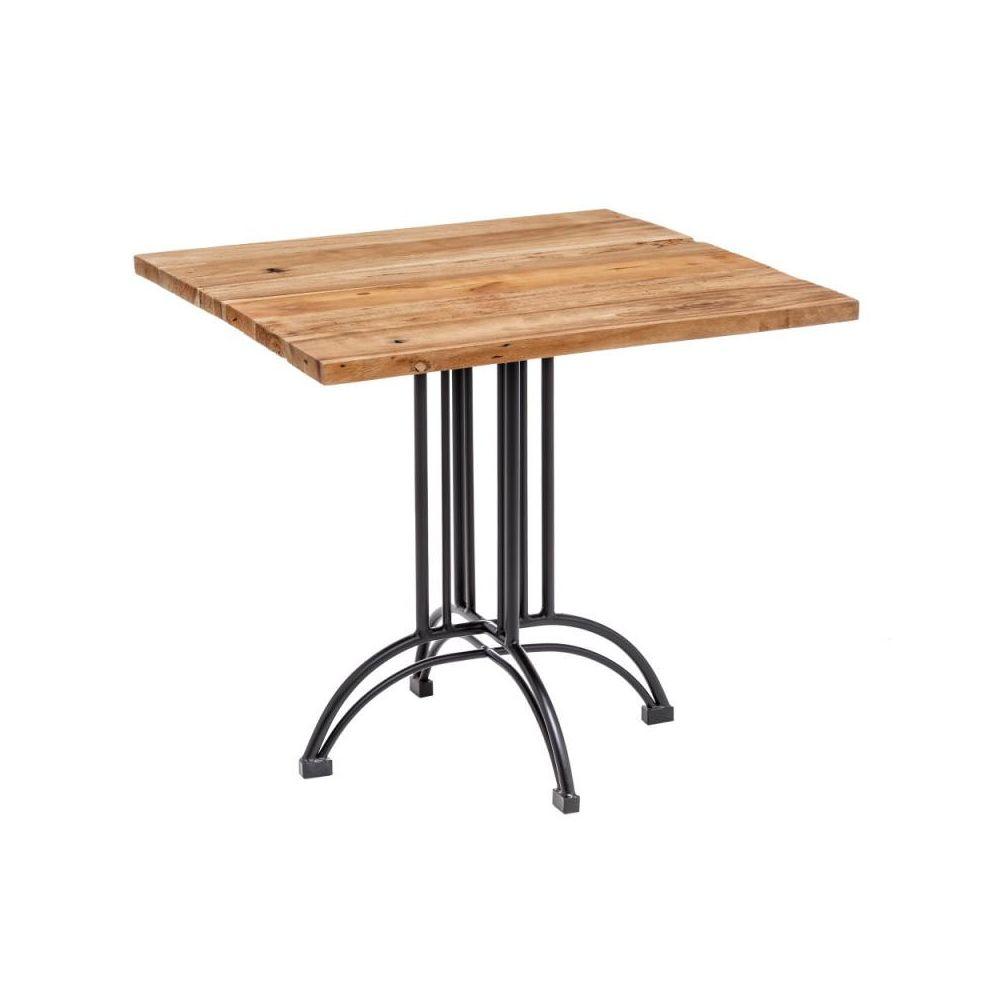 Tousmesmeubles Table de repas carrée Bois/Métal - IRATI