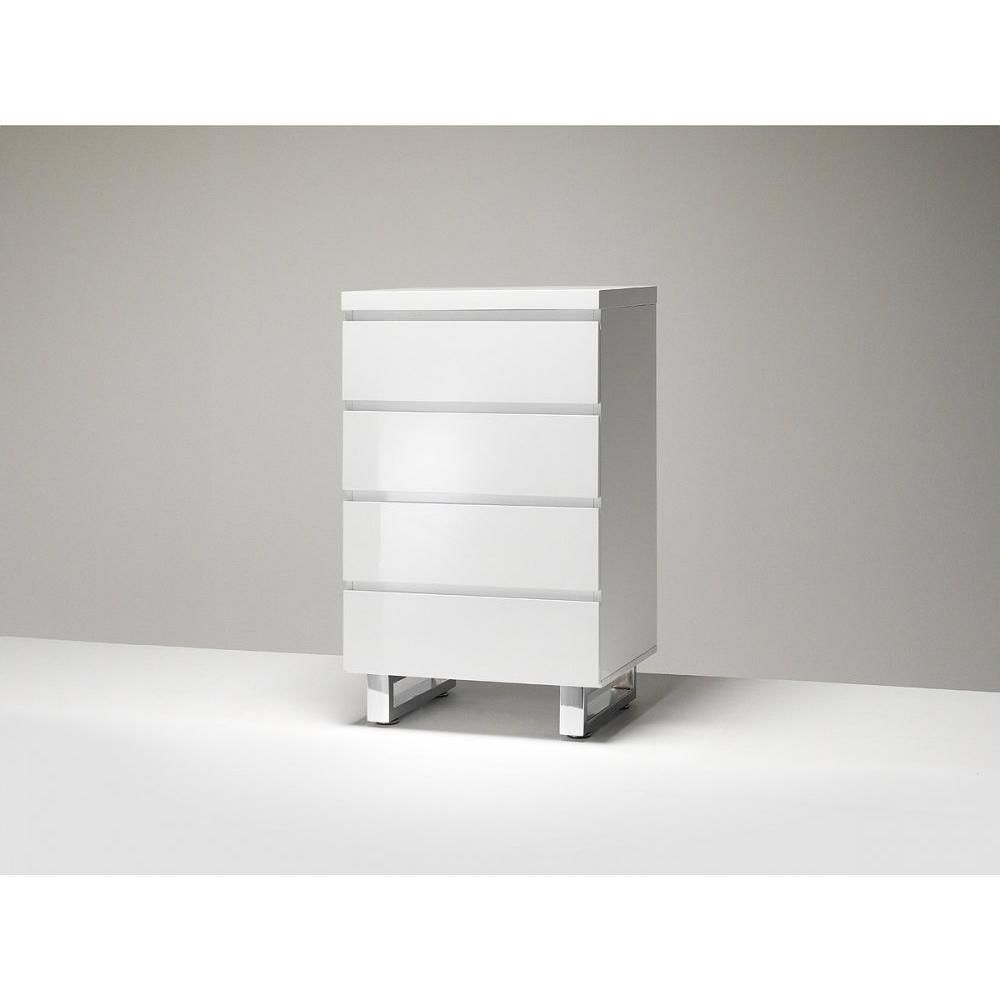 Inside 75 Commode ALTONA blanc laque brillant 4 tiroirs pietement metal chrome