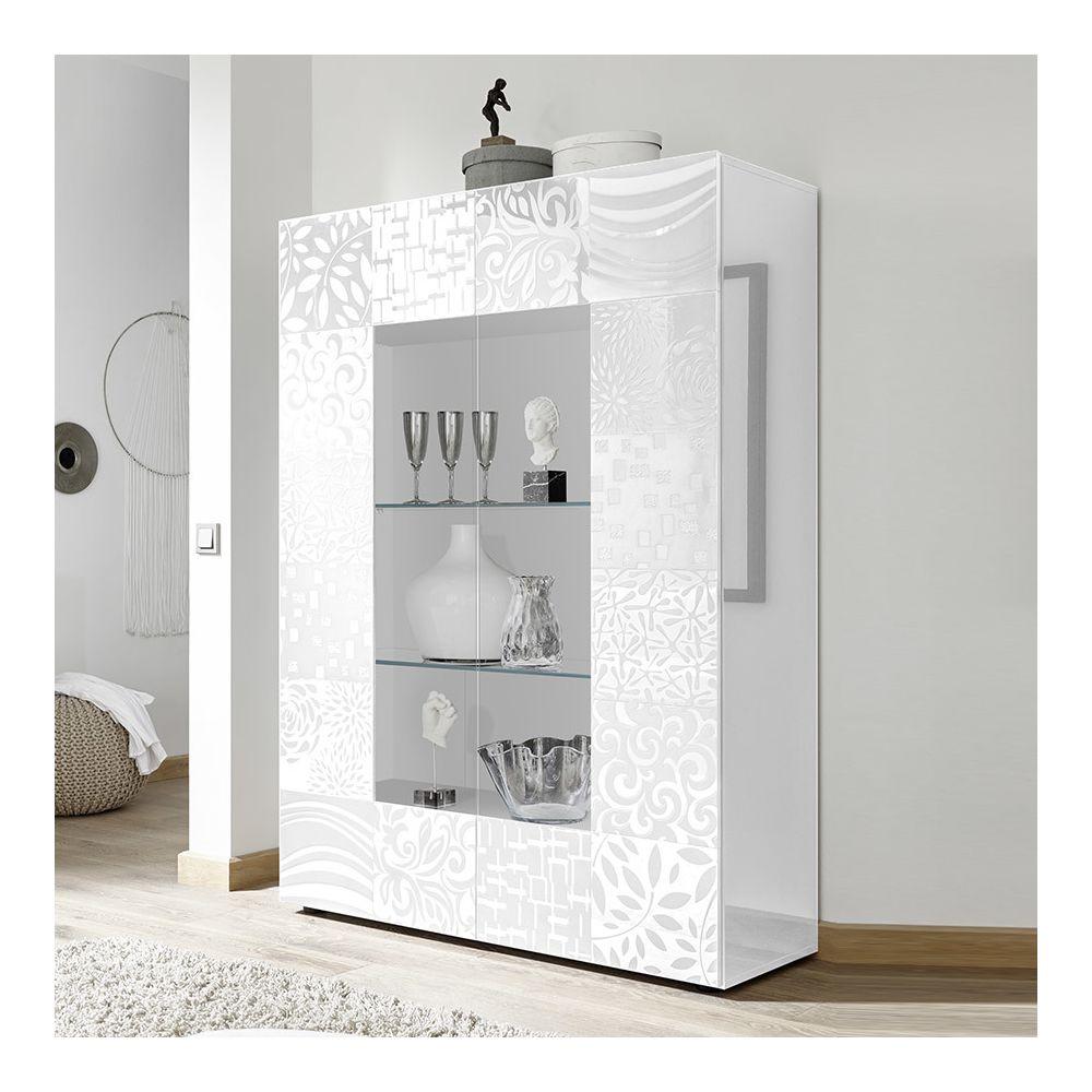 Kasalinea Vaisselier design blanc laqué NERINA