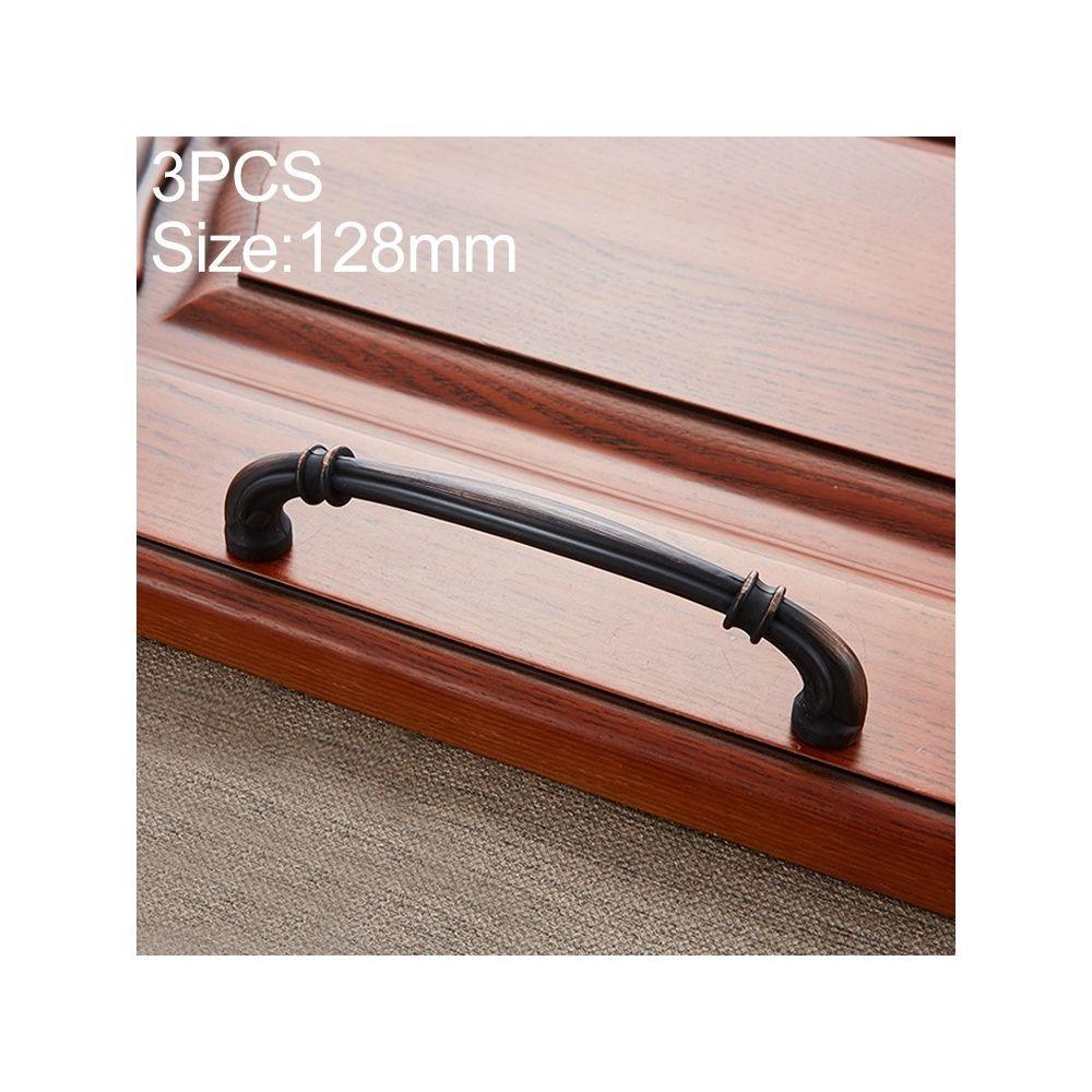 Wewoo Poignée d'armoire 3 PCS 6569-128 de porte à tiroir en bois de pêche antique noire et rouge