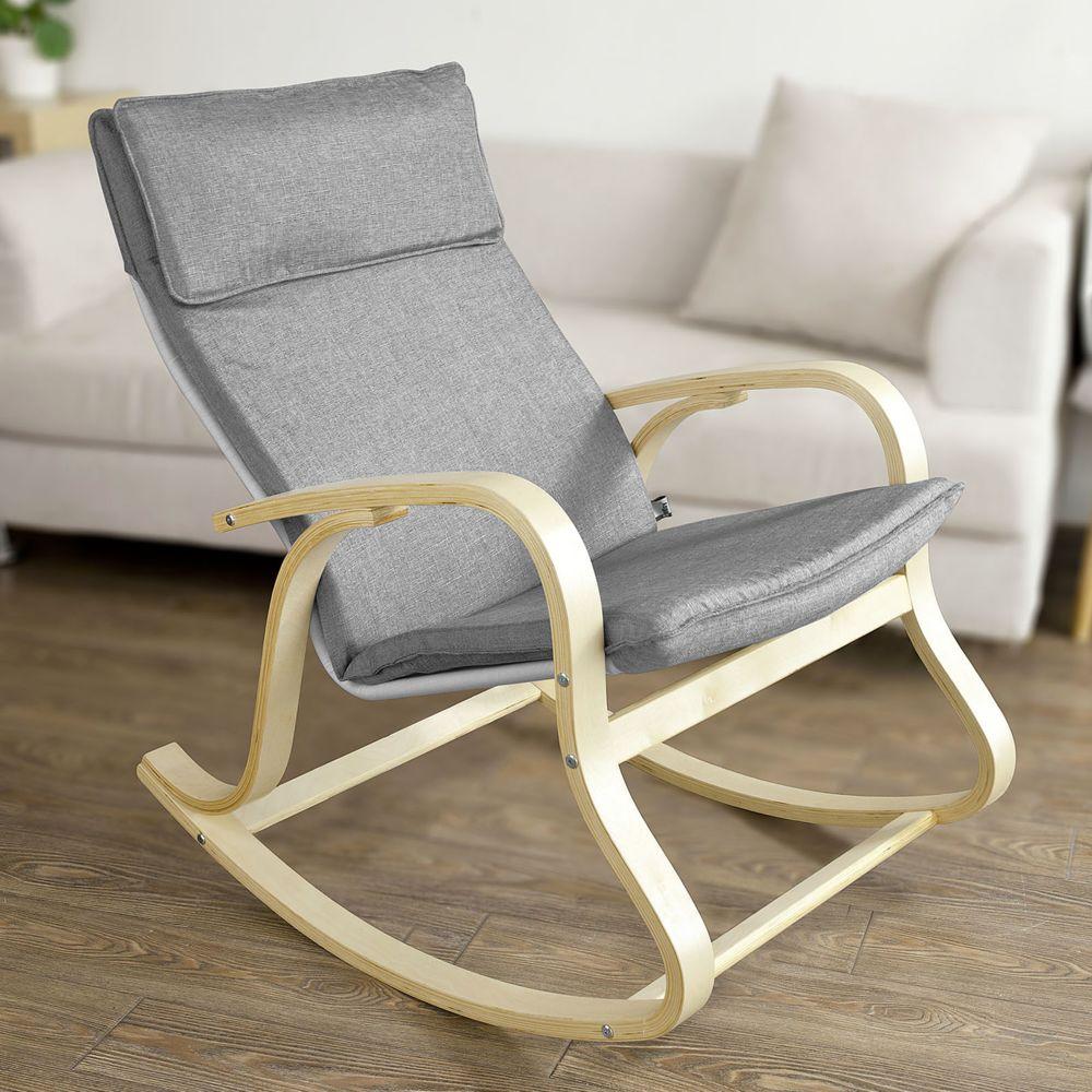 Sobuy SoBuy® FST15-DG Rocking Chair, Fauteuil à bascule, Fauteuil relax, Bouleau Flexible -Gris