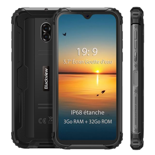 Blackview - Smartphone IP68 étanche 4G Blackview BV5900 5.7'' Écran 3Go Ram 32Go Rom Android 9.0 Téléphone portable Incassable 13MP Camera  - Noir - Smartphone Android