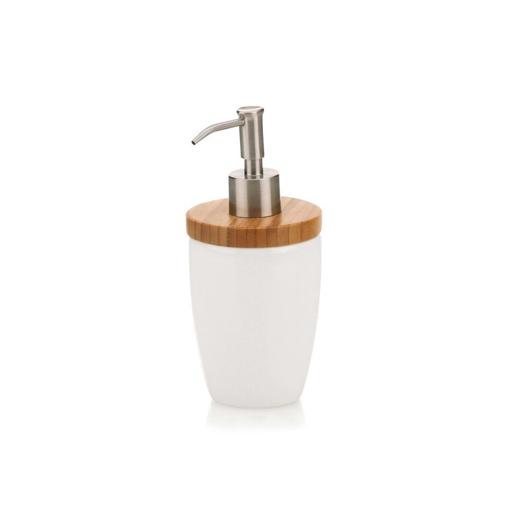 Kela Distributeur de savon en céramique blanche et bambou NATURA