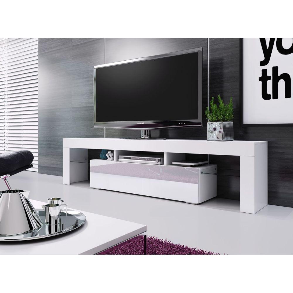 Baltic Meubles MEUBLE BANC TV BLANC LAQUE - 1M90 - LEDS NON FOURNIES - MOINSCHERCUISINE