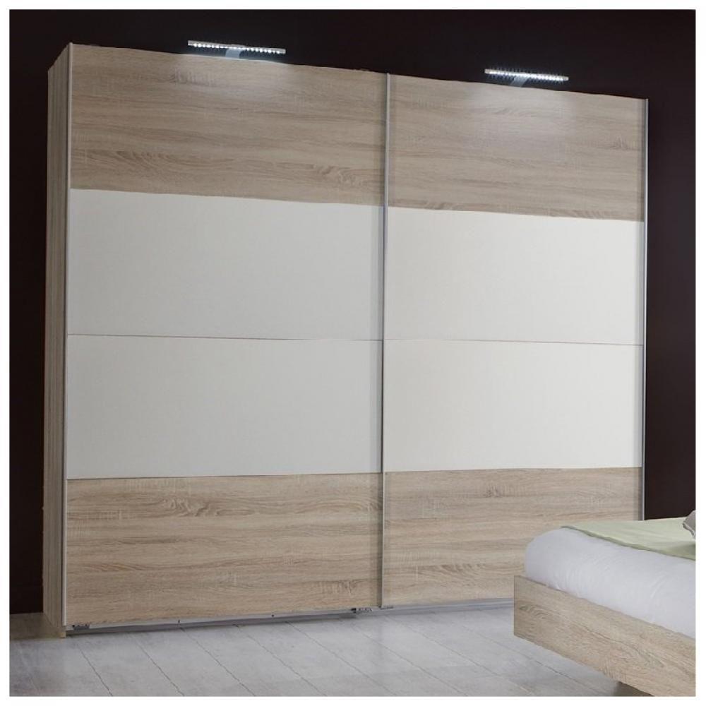 Inside 75 Armoire EVA portes coulissantes largeur 180 chêne clair / blanc