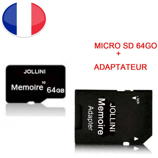 Jollini - Carte mémoire Micro SD 64 Go classe 10 + adaptateur SD pour WIKO HIGHWAY SIGNS   - JOLLINI® Universel Protection - Carte SD
