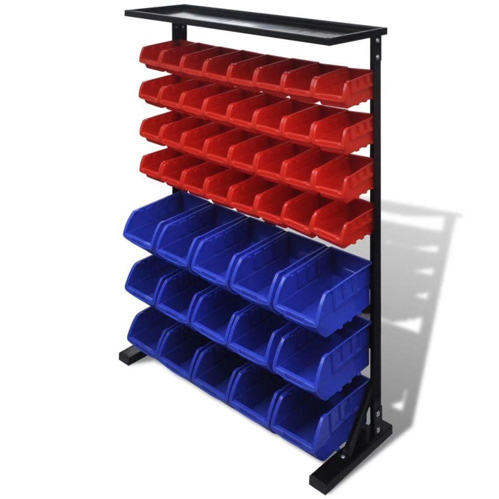 Vidaxl Etagère Bac à bec combinaison murale Bleu et rouge - 141403  