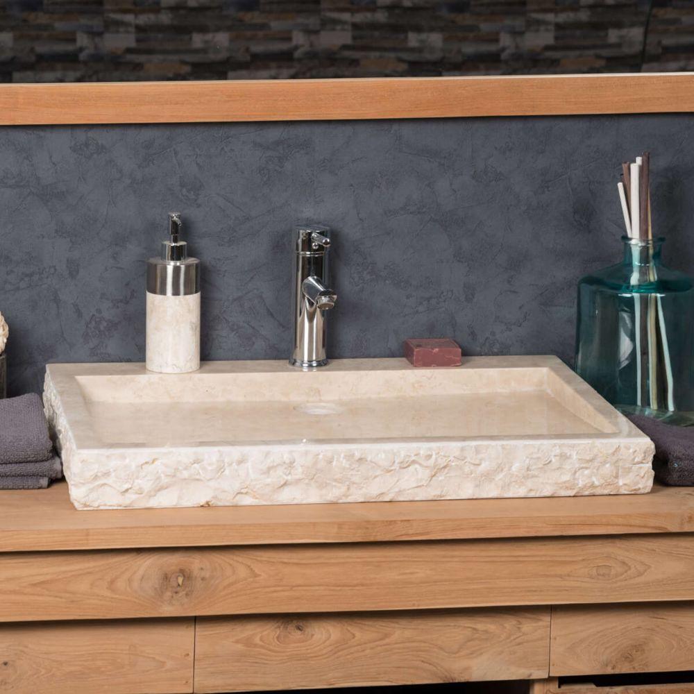 Wanda Collection Grande Vasque 70cm à poser rectangle en pierre marbre COSY crème