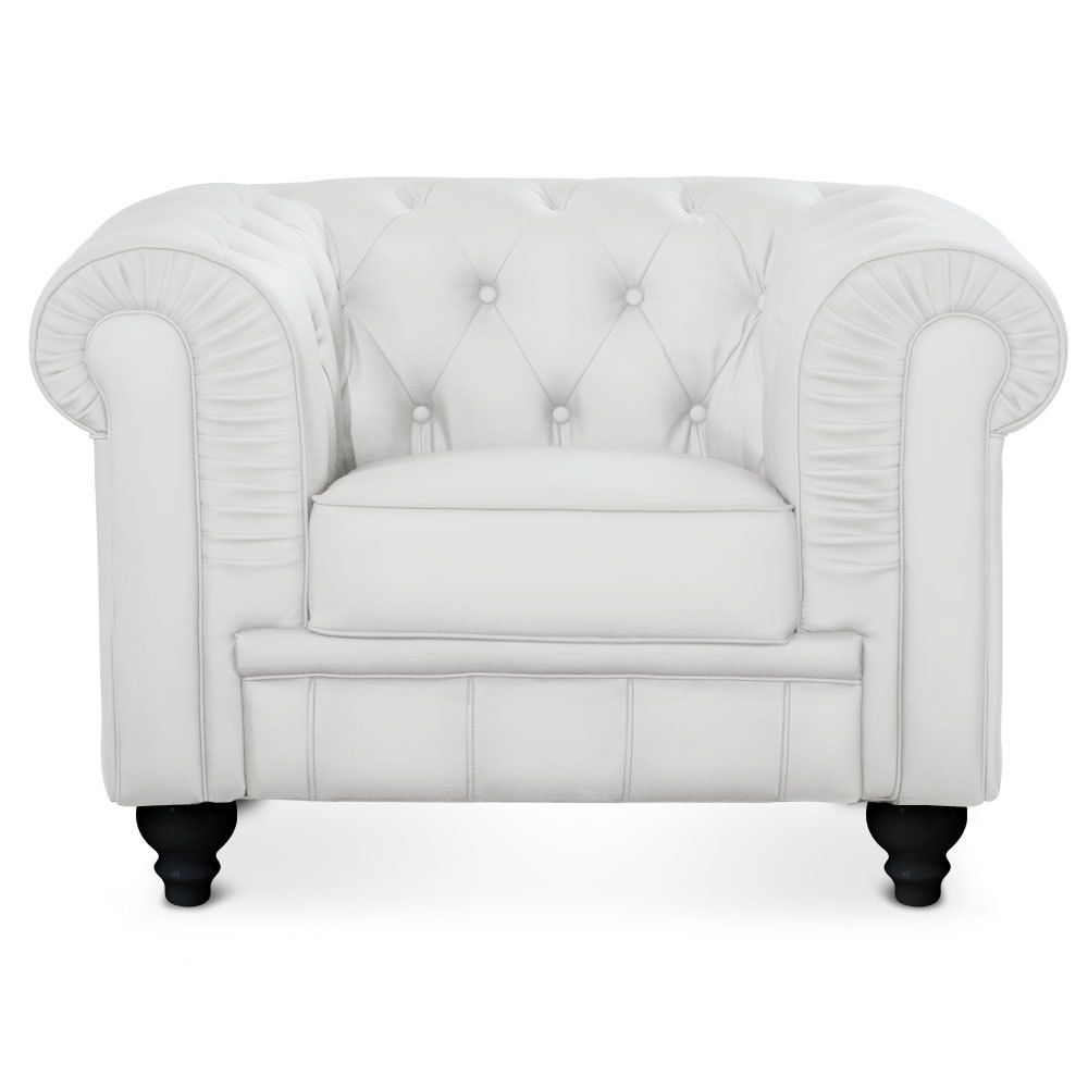 MENZZO Grand fauteuil Chesterfield Blanc