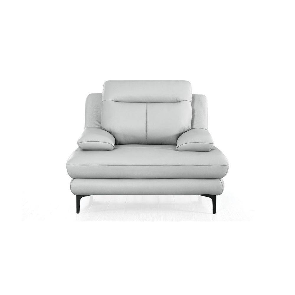 La Maison Du Canapé Fauteuil cuir Design avec dossier avance-recul LYA - {habillage_canape_cuir} - Gris perle