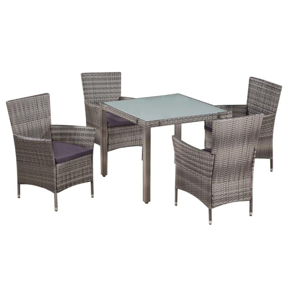 Vidaxl Jeu de mobilier d'extérieur 9 pcs Résine tressée et verre Gris - Meubles/Meubles de jardin/Ensembles de meubles d'extéri