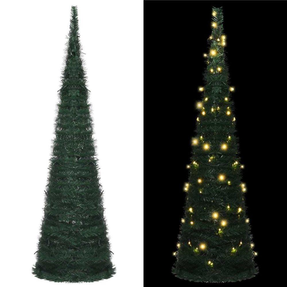 Vidaxl vidaXL Sapin de Noël artificiel avec guirlandes et LED Vert 150 cm