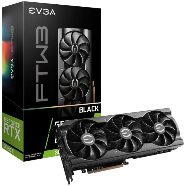 Evga - GeForce RTX 3060 Ti FTW3 BLACK GAMING - Triple Fan - 8Go - Carte Graphique NVIDIA