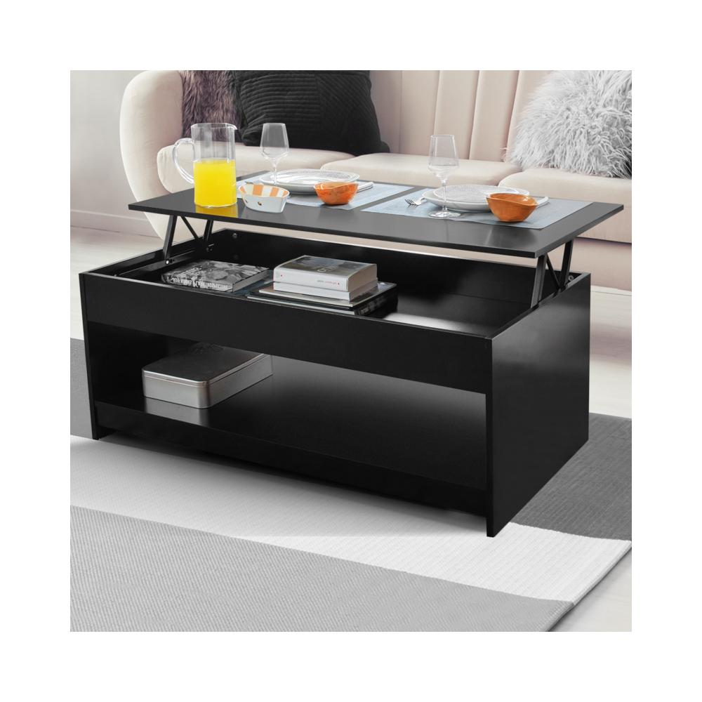 Idmarket Table basse plateau relevable Soa bois noir