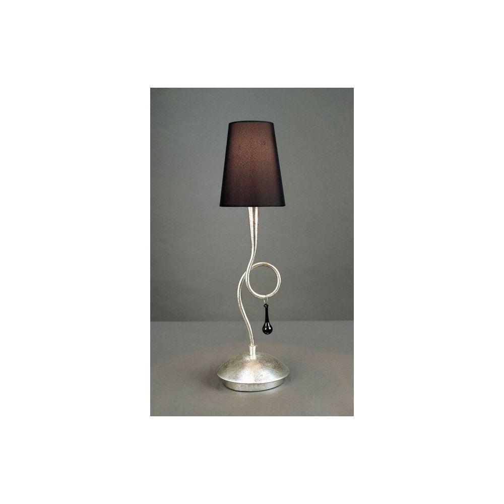 Luminaire Center Lampe de Table Paola 1 Ampoule E14, argent peint avec Abat jour noir & goutelettes en verre noir