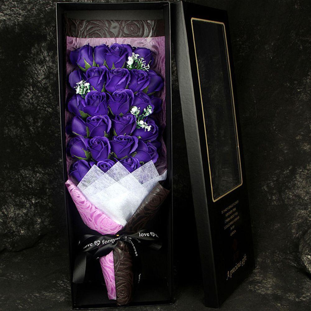 Generic Saint Valentin bricolage savon fleur cadeau rose boîte mariage chambre cadeau de vacances - Violet