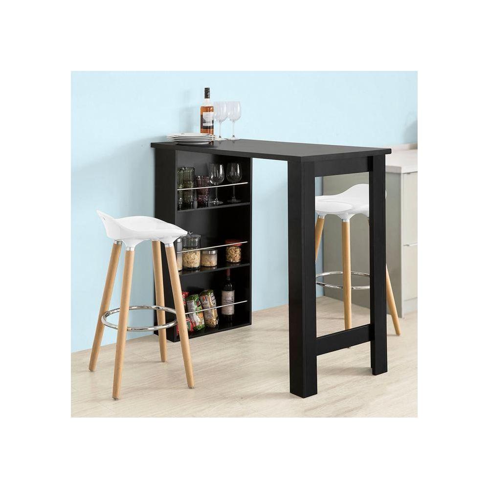 Sobuy SoBuy® FWT17-SCH Table de BarTable Haute de Cuisine avec 3 étagères de rangement ? Noir