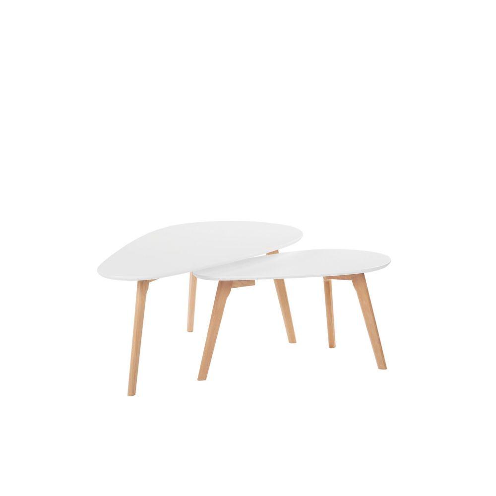 Beliani Beliani Lot de 2 tables basses blanches et bois clair FLY III - blanc