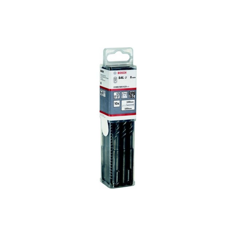 Bosch Lot de forets marteau SDS-plus-5, boîte grand format pour artisans, Ø : 10 mm, Long. hélice 100 mm, Long. totale 160 mm