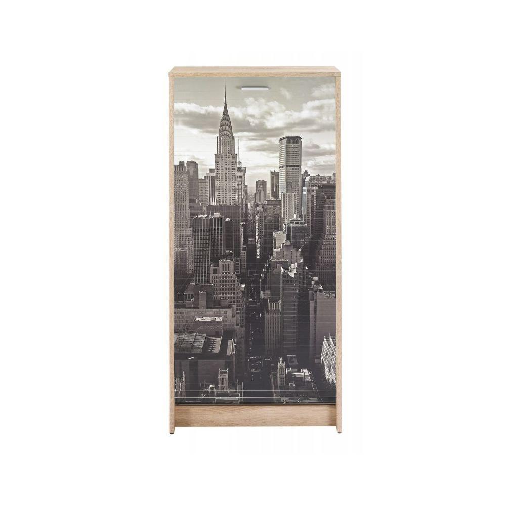 Simmob Meuble à Chaussures Chêne 7 Tablettes - Coloris: New York 500