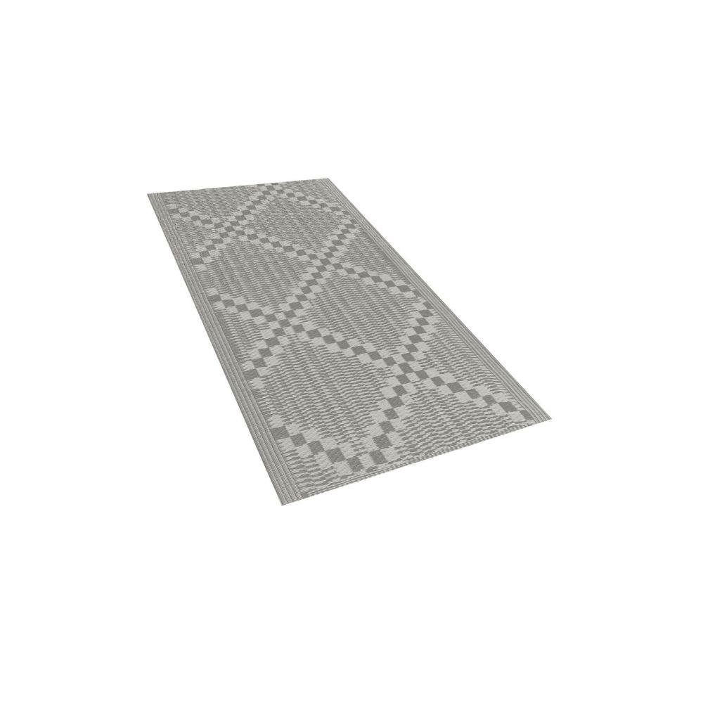 Beliani Beliani Tapis extérieur gris au motif à carreaux 60 x 105 cm JALNA - gris